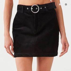 Belted Corduroy Mini Skirt (Black)